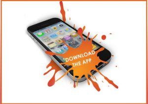 Image of an iphone with text saying download the app