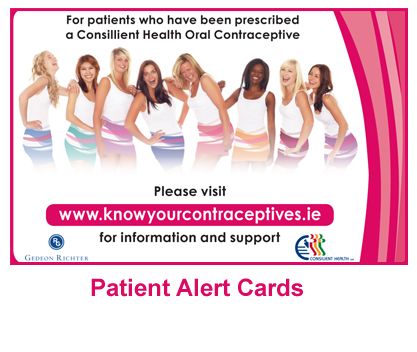 Patient alert card, images of the women from the contracetive products
